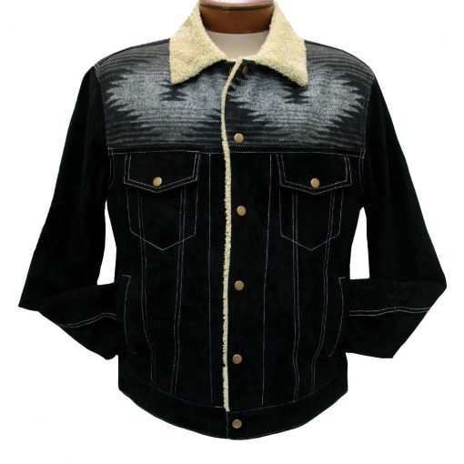 Men's Scully Boar Suede Snap Front Jean Jacket With Knit Inset #1015 Black