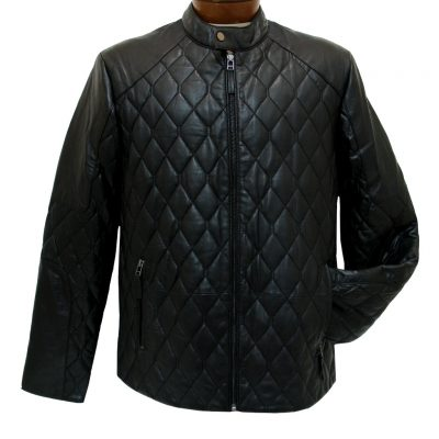 Men's Scully Premium Lambskin Quilted Leather Jacket #1001 Black