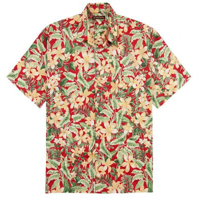 Men's Tori Richard Cotton Lawn Relaxed Fit Short Sleeve Shirt, Courtyard #6380 Red
