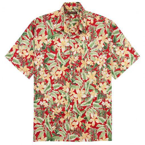 Men's Tori Richard Cotton Lawn Relaxed Fit Short Sleeve Shirt, Courtyard #6380 Red