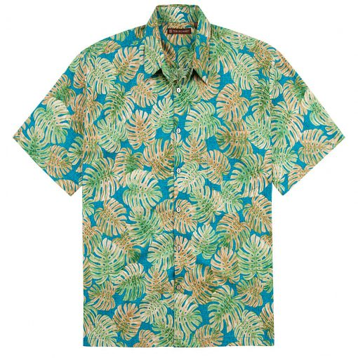 Men's Tori Richard Cotton Lawn Relaxed Fit Short Sleeve Shirt, Monstera Inc #6377 Turquoise