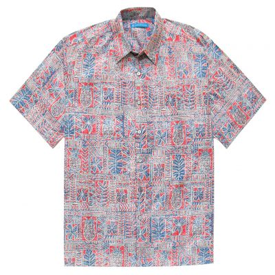 Men's Tori Richard Cotton Lawn Relaxed Fit Short Sleeve Shirt, Sweet Life #6385 Red Sunset