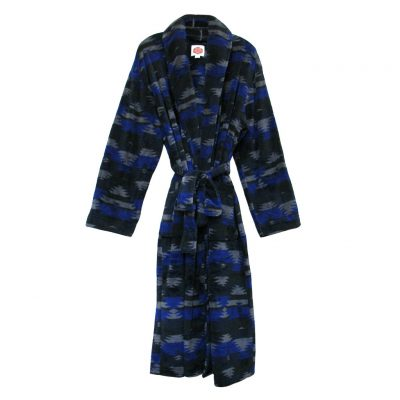 Men's Vintage By Majestic International Rugged Ridge Southwest Plush Fleece Shawl Collar Robe, Navy