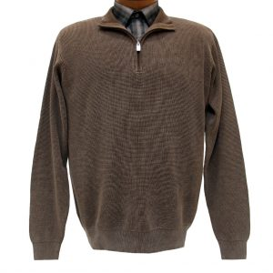 Men's F/X Fusion Long Sleeve 100% Cotton Baby Thermal Sandwashed 1/4 Zip Mock Neck Sweater #806 Brown (L & XXL, ONLY!)