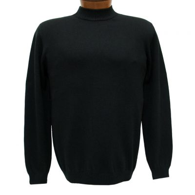 Men's LaVane Long Sleeve Cotton Blend Mock-Neck Pullover #501, Black