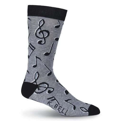 Men's K. BELL Novelty Crew Socks, Music Notes Charcoal Heather