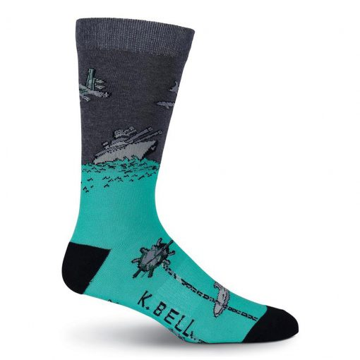Mens K. BELL Made In America Novelty Crew Socks, Air & Sea Charcoal Heather