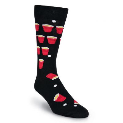 Men's K. BELL Novelty Crew Socks, Beer Pong Black