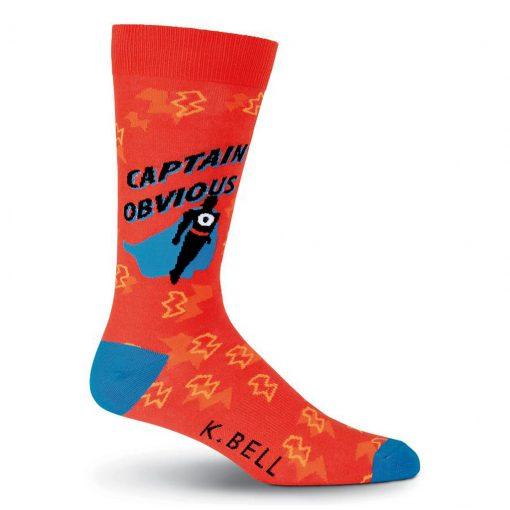 Men's K. BELL Novelty Crew Socks, Captain Obvious Red
