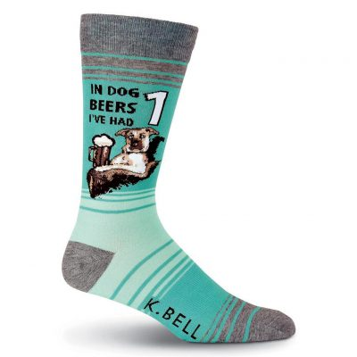 Men's K. BELL Novelty Crew Socks, In Dog Beers Turquoise