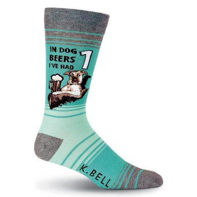 Men's K. BELL Novelty Crew Socks, In Dog Beers Turquoise