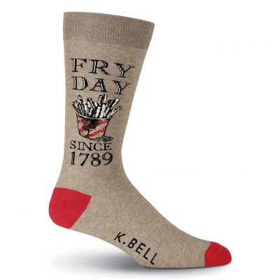 Men's K. BELL Novelty Crew Socks, Fry Day Brown Heather