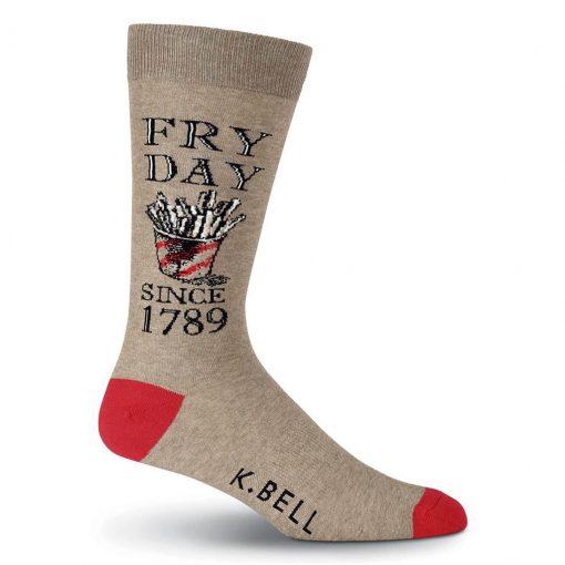 Men's K. BELL Novelty Crew Socks, Fry Day Brown Heather