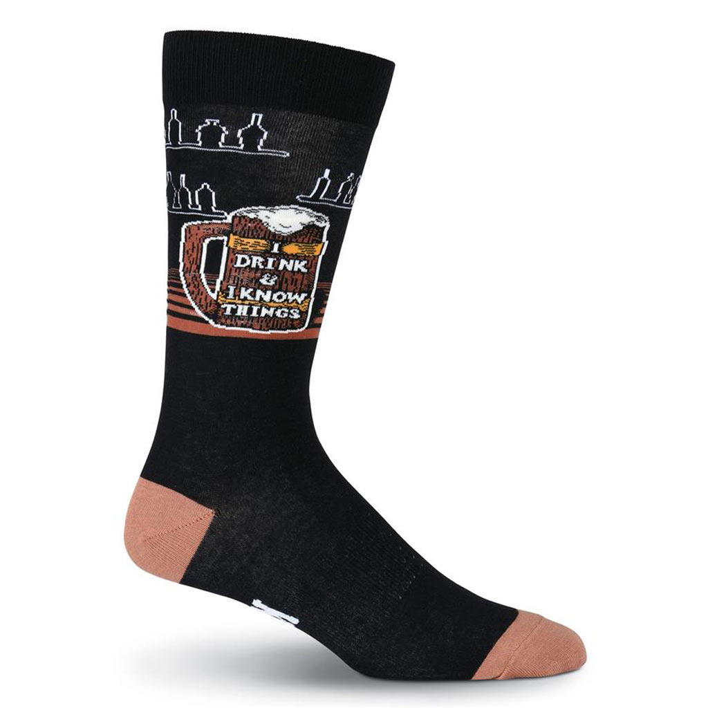 Men's K. BELL Novelty Crew Socks, I Know Things Black
