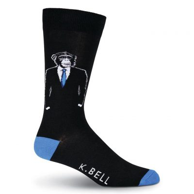 Men's K. BELL Novelty Crew Socks, Monkey Suit Black