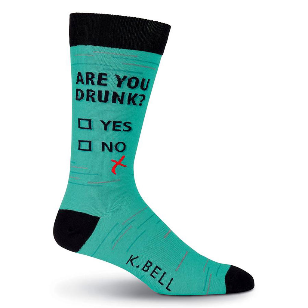 335534000728 Men's K. BELL Novelty Crew Socks, Not Drunk Teal - Richard David for Men