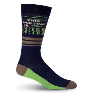 Men's K. BELL Novelty Crew Socks, This Meeting Navy
