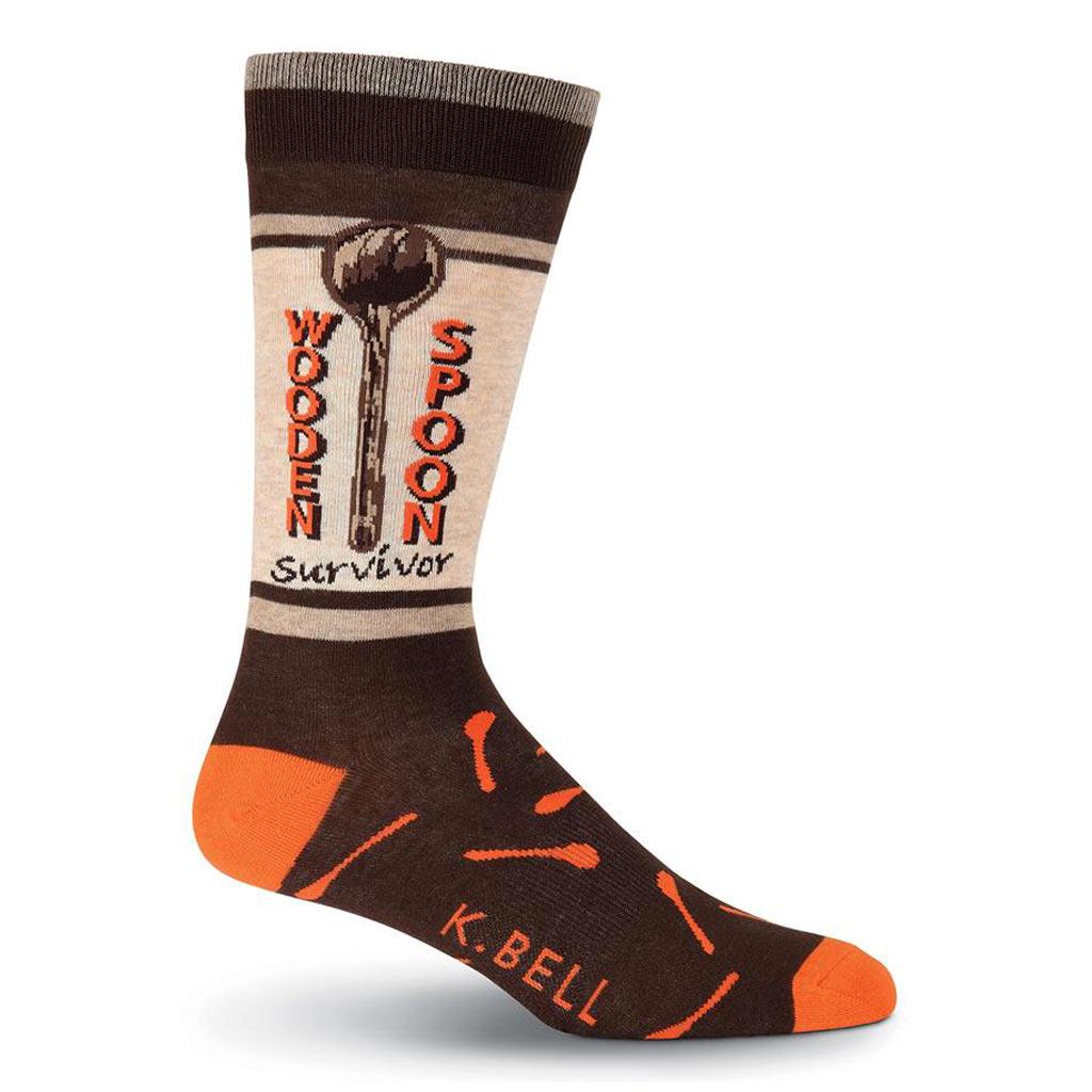 Men's K. BELL Novelty Crew Socks, Wooden Spoon Survivor Brown Heather