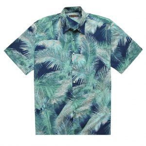 """Men's Tori Richard Brown Label Cotton Lawn Relaxed Fit Short Sleeve Shirt, Crystal Palm Navy """"USE COUPON TR2 AT CHECK OUT"""""""