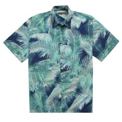 Men's Tori Richard Brown Label Cotton Lawn Relaxed Fit Short Sleeve Shirt, Crystal Palm #MC04 Navy