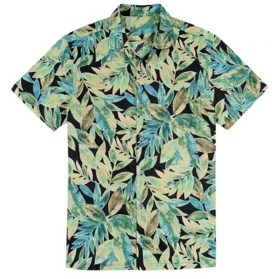 Men's Tori Richard Brown Label Cotton Lawn Relaxed Fit Short Sleeve Shirt, Garden Tango #MB02 Black