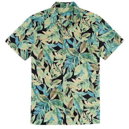 Men's Tori Richard Brown Label Cotton Lawn Relaxed Fit Short Sleeve Shirt, Garden Tango #MB02 Black