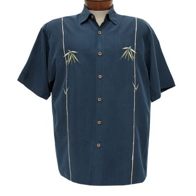 Men's Bamboo Cay Short Sleeve Embroidered Modal Blend Shirt, Dual Bamboos #WB601T Navy