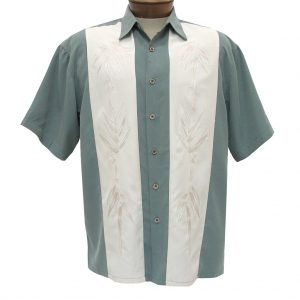 Men's Bamboo Cay Short Sleeve Embroidered Modal Blend Shirt, Paneled Bamboos #WB004RE Ocean/Sage