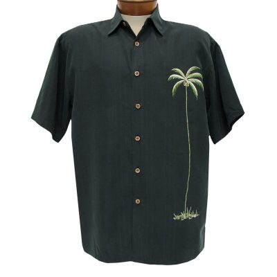 Men's Bamboo Cay Short Sleeve Embroidered Modal Blend Shirt, Single Palm #WB1003T Black