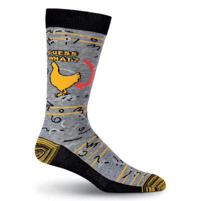 Men's K. BELL Novelty Crew Socks, Guess What Chicken Butt Grey Heather