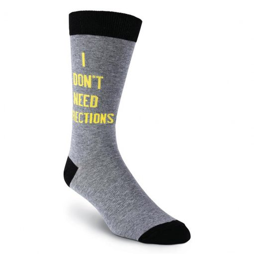 Men's K. BELL Novelty Crew Socks, I Don't Need Directions, Charcoal Heather