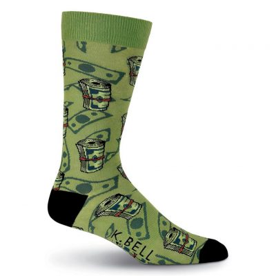 Men's K. BELL Novelty Crew Socks, Money, Green