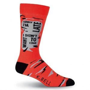 Men's K. BELL Novelty Crew Socks, I'm Sorry I'm Late, Red