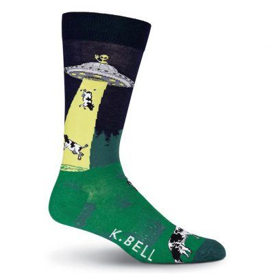 Men's K. BELL Novelty Crew Socks, UFO Abduction, Navy