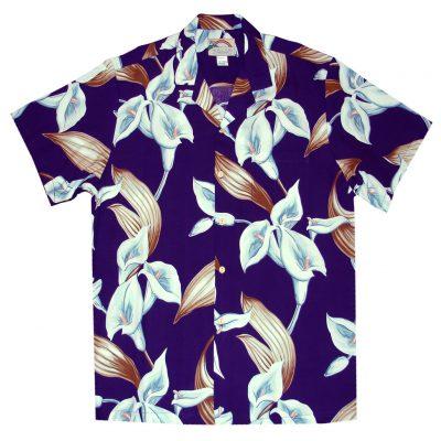 Mens Paradise Found Aloha Short Sleeve Hawaiian Camp Shirt, Calla Lily Purple