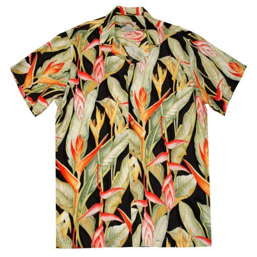 Mens Paradise Found Aloha Short Sleeve Hawaiian Camp Shirt, Heliconia Black