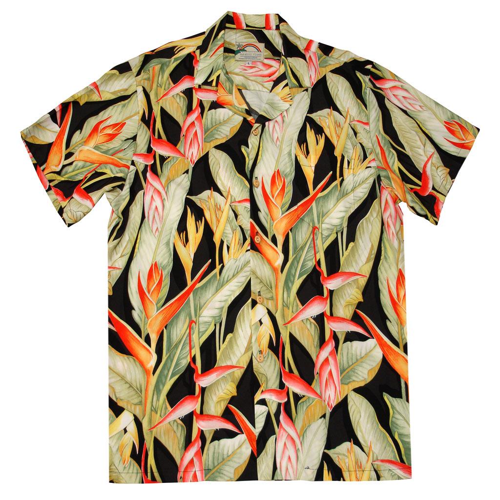 9605e76b Mens Paradise Found Aloha Short Sleeve Hawaiian Camp Shirt, Heliconia Black