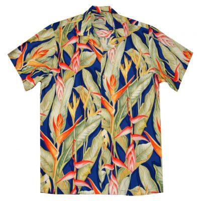 Mens Paradise Found Aloha Short Sleeve Hawaiian Camp Shirt, Heliconia Royal