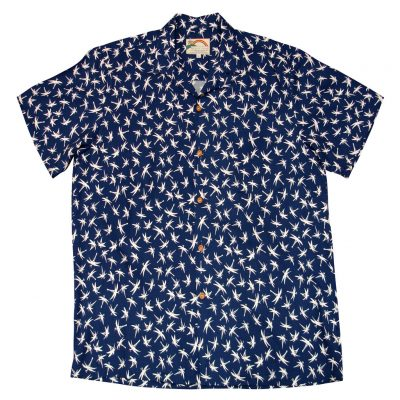 Men's Paradise Found Aloha Short Sleeve Camp Shirt, Magnum Bamboo Navy