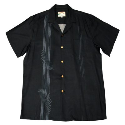 Men's Paradise Found Aloha Short Sleeve Camp Shirt, Palm Shadow Black
