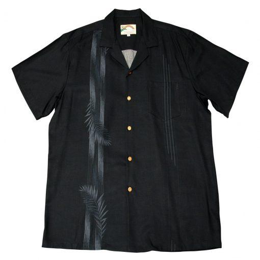 Men's Paradise Found Aloha Short Sleeve Camp Shirt, Palm Shadow Black