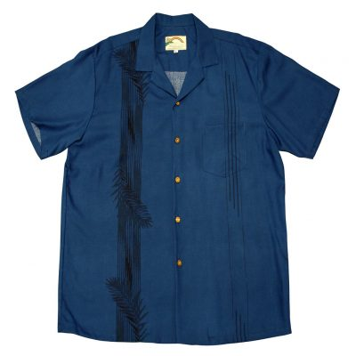 Men's Paradise Found Aloha Short Sleeve Camp Shirt, Palm Shadow Navy