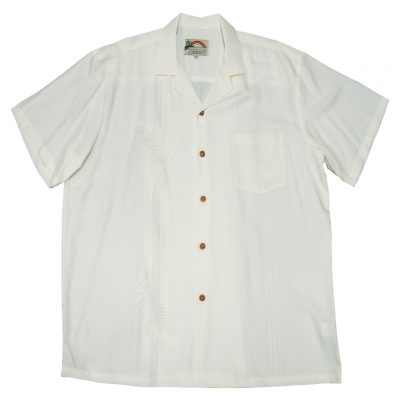 Men's Paradise Found Aloha Short Sleeve Camp Shirt, Palm Shadow White