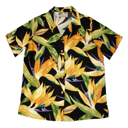 Men's Paradise Found Aloha Short Sleeve Camp Shirt, Watercolor Bird Of Paradise Black