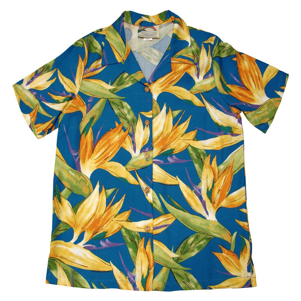 Men's Paradise Found Aloha Short Sleeve Camp Shirt, Watercolor Bird Of Paradise Blue