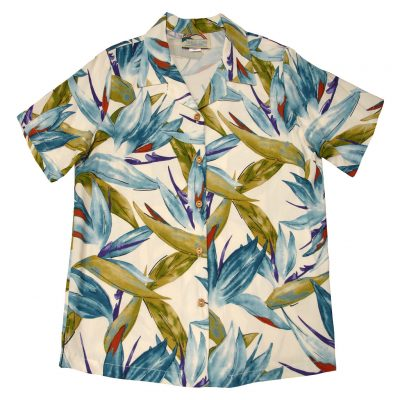 Men's Paradise Found Aloha Short Sleeve Camp Shirt, Watercolor Bird Of Paradise Cream