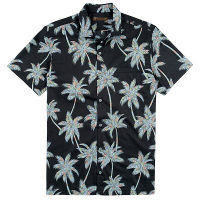 Men's Tori Richard Brown Label Cotton Lawn Relaxed Fit Short Sleeve Shirt, Carnaby Palm #ME08 Black