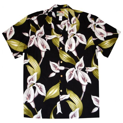 Mens Paradise Found Aloha Short Sleeve Hawaiian Camp Shirt, Calla Lily Black