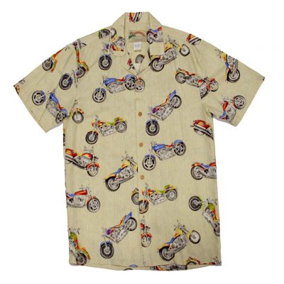 Mens Paradise Found Aloha Short Sleeve Hawaiian Camp Shirt, Motorcycle Cream