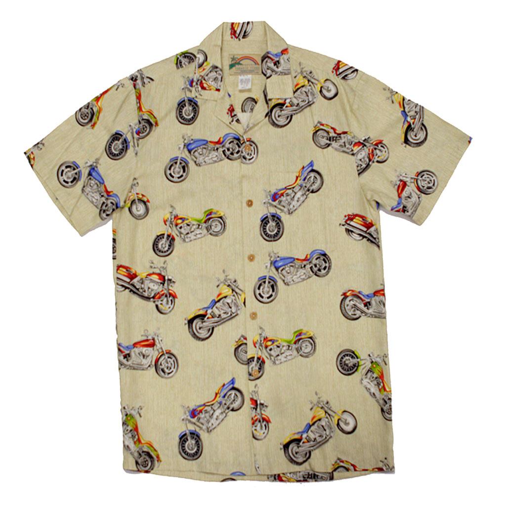 Mens Paradise Found Aloha Short Sleeve Hawaiian Camp Shirt, Motorcycle Cream